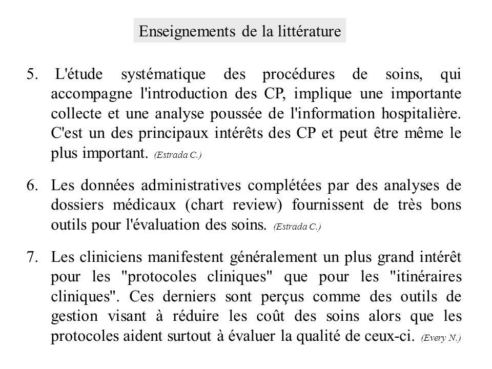 5. L'étude systématique des procédures de soins, qui accompagne l'introduction des CP, implique une importante collecte et une analyse poussée de l'in