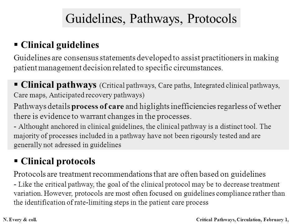 Clinical guidelines Guidelines are consensus statements developed to assist practitioners in making patient management decision related to specific ci
