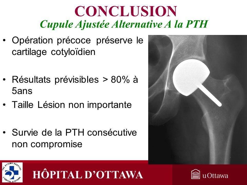 HÔPITAL DOTTAWA Cupule Ajustée Alternative A la PTH Opération précoce préserve le cartilage cotyloïdienOpération précoce préserve le cartilage cotyloï