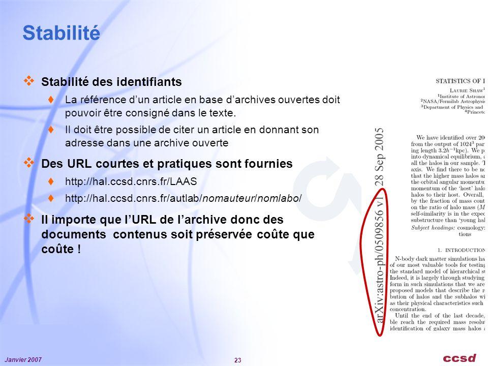 Janvier 2007 23 Stabilité Stabilité des identifiants La référence dun article en base darchives ouvertes doit pouvoir être consigné dans le texte.