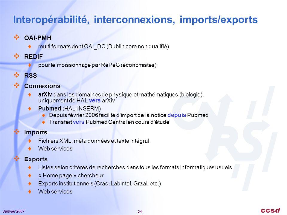 Janvier 2007 24 Interopérabilité, interconnexions, imports/exports OAI-PMH multi formats dont OAI_DC (Dublin core non qualifié) REDIF pour le moissonnage par RePeC (économistes) RSS Connexions arXiv dans les domaines de physique et mathématiques (biologie), uniquement de HAL vers arXiv Pubmed (HAL-INSERM) Depuis février 2006 facilité dimport de la notice depuis Pubmed Transfert vers Pubmed Central en cours détude Imports Fichiers XML, méta données et texte intégral Web services Exports Listes selon critères de recherches dans tous les formats informatiques usuels « Home page » chercheur Exports institutionnels (Crac, Labintel, Graal, etc.) Web services