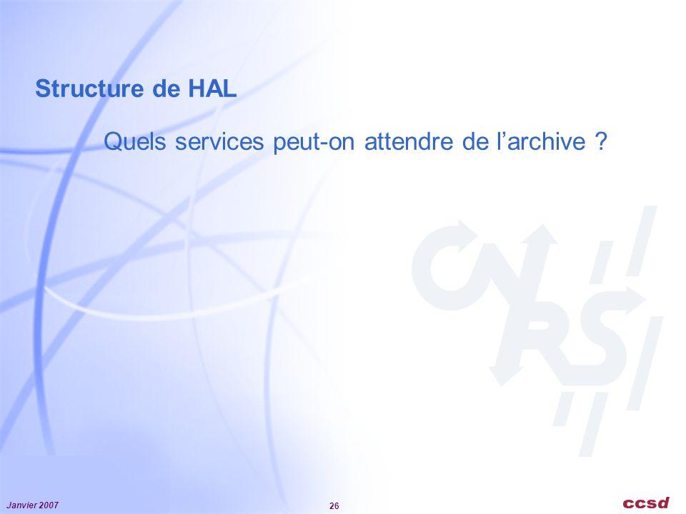 Janvier 2007 26 Structure de HAL Quels services peut-on attendre de larchive ?