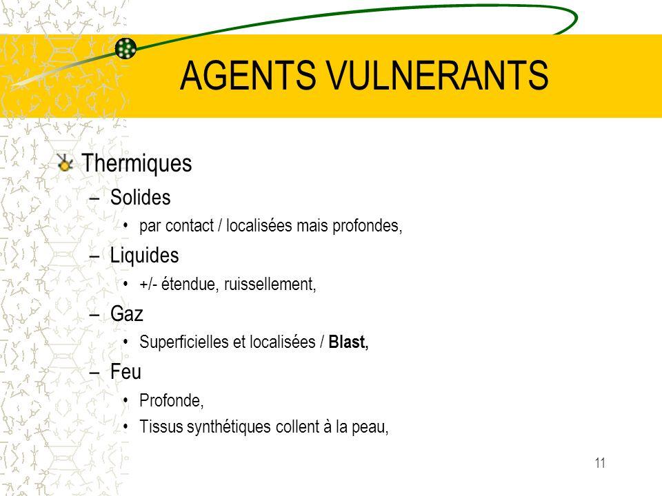 11 AGENTS VULNERANTS Thermiques –Solides par contact / localisées mais profondes, –Liquides +/- étendue, ruissellement, –Gaz Superficielles et localis