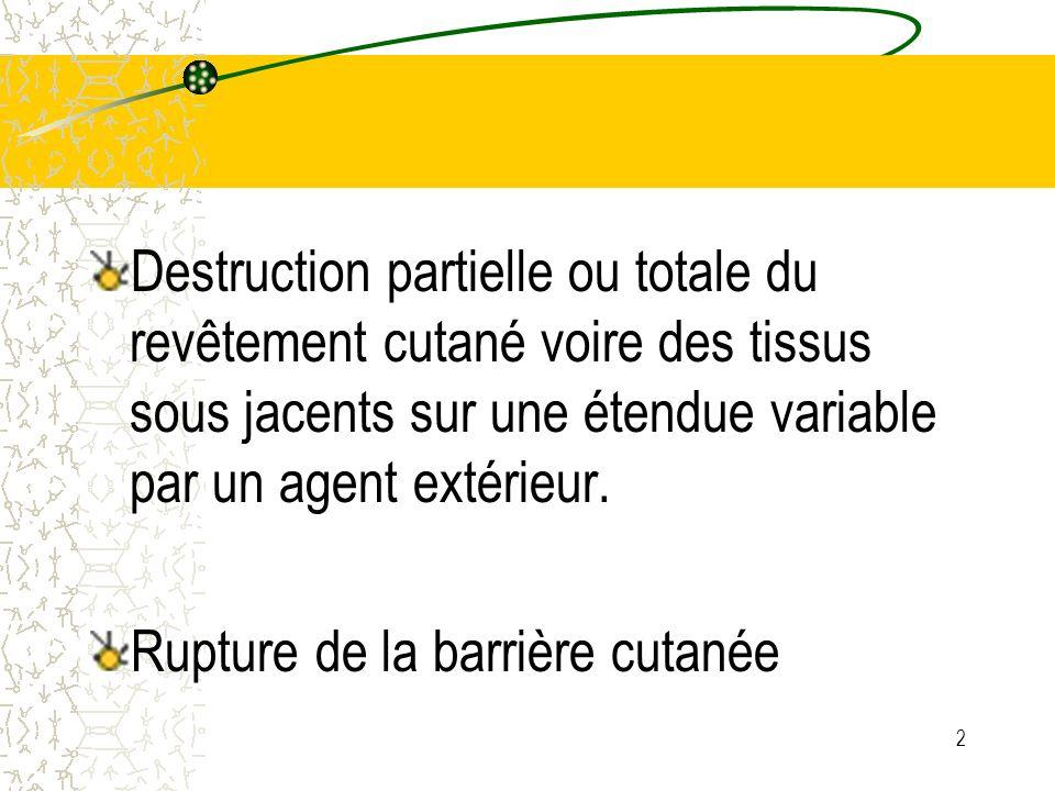2 Destruction partielle ou totale du revêtement cutané voire des tissus sous jacents sur une étendue variable par un agent extérieur. Rupture de la ba