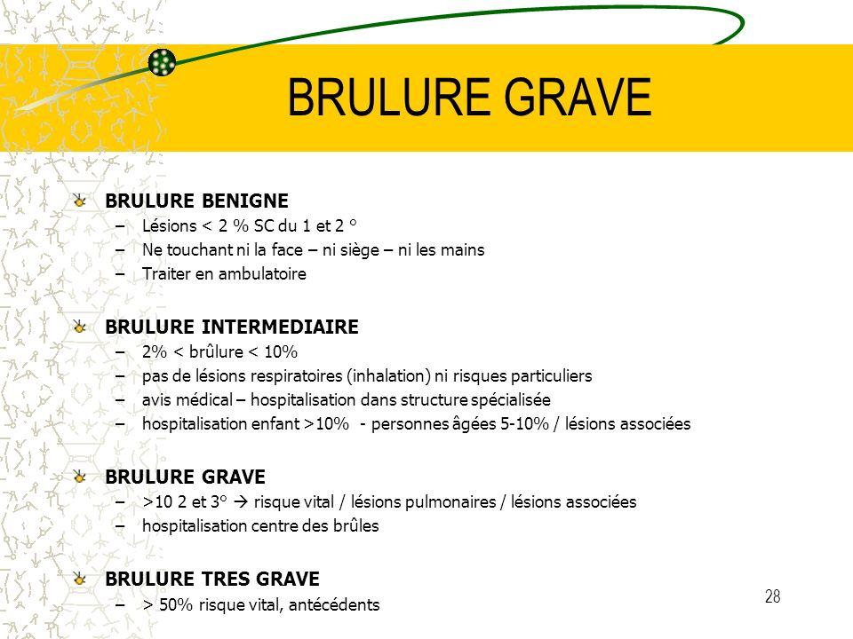 28 BRULURE GRAVE BRULURE BENIGNE –Lésions < 2 % SC du 1 et 2 ° –Ne touchant ni la face – ni siège – ni les mains –Traiter en ambulatoire BRULURE INTER