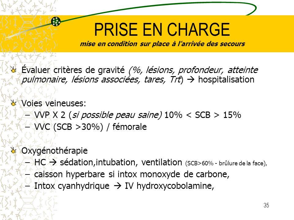 35 PRISE EN CHARGE mise en condition sur place à larrivée des secours Évaluer critères de gravité (%, lésions, profondeur, atteinte pulmonaire, lésion