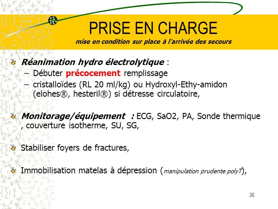 36 PRISE EN CHARGE mise en condition sur place à larrivée des secours Réanimation hydro électrolytique : –Débuter précocement remplissage –cristalloïd