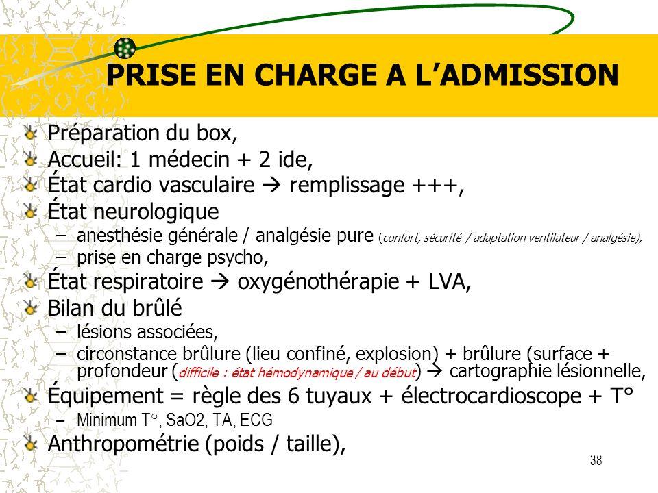 38 PRISE EN CHARGE A LADMISSION Préparation du box, Accueil: 1 médecin + 2 ide, État cardio vasculaire remplissage +++, État neurologique –anesthésie