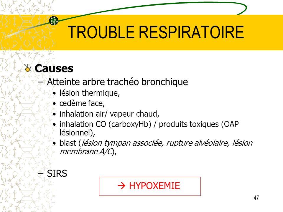 47 TROUBLE RESPIRATOIRE Causes –Atteinte arbre trachéo bronchique lésion thermique, œdème face, inhalation air/ vapeur chaud, inhalation CO (carboxyHb