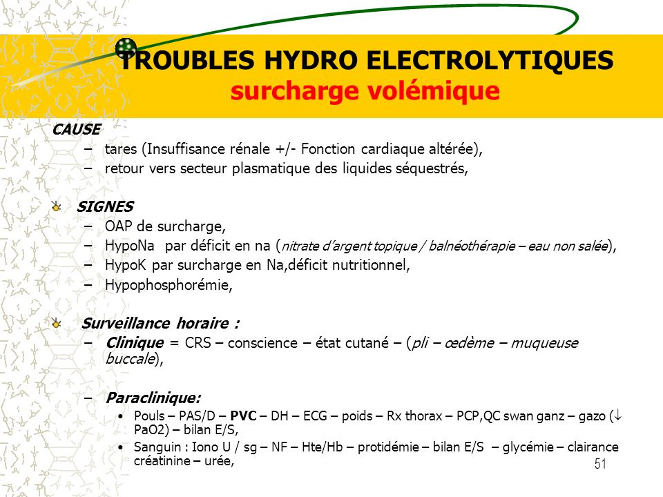 51 TROUBLES HYDRO ELECTROLYTIQUES surcharge volémique CAUSE –tares (Insuffisance rénale +/- Fonction cardiaque altérée), –retour vers secteur plasmati