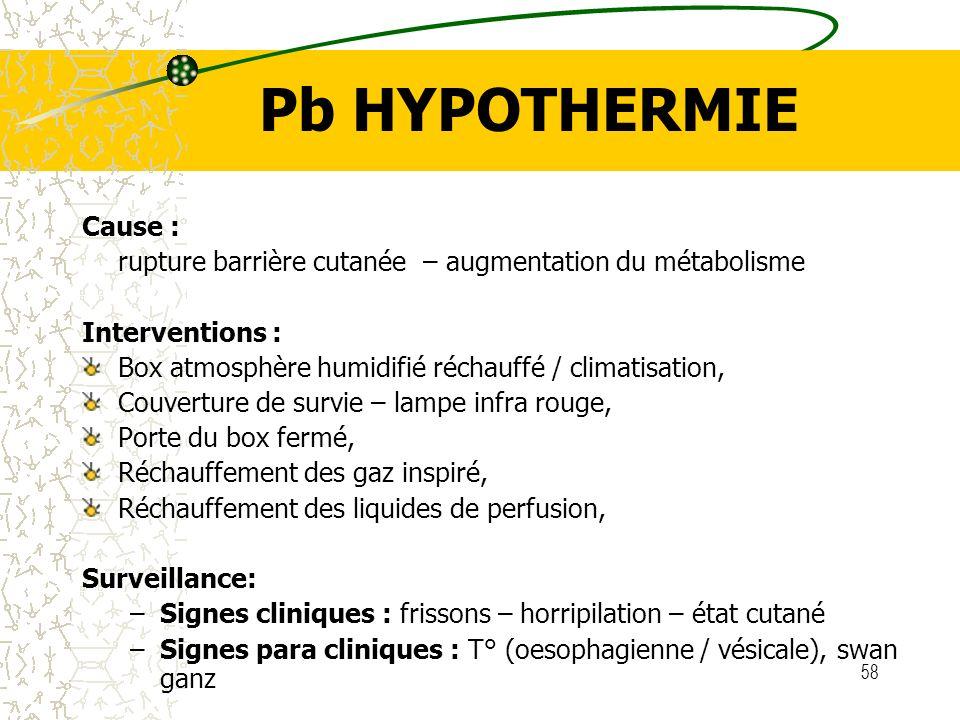 58 Pb HYPOTHERMIE Cause : rupture barrière cutanée – augmentation du métabolisme Interventions : Box atmosphère humidifié réchauffé / climatisation, C