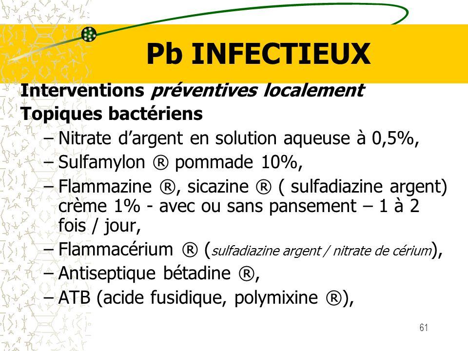 61 Pb INFECTIEUX Interventions préventives localement Topiques bactériens –Nitrate dargent en solution aqueuse à 0,5%, –Sulfamylon ® pommade 10%, –Fla