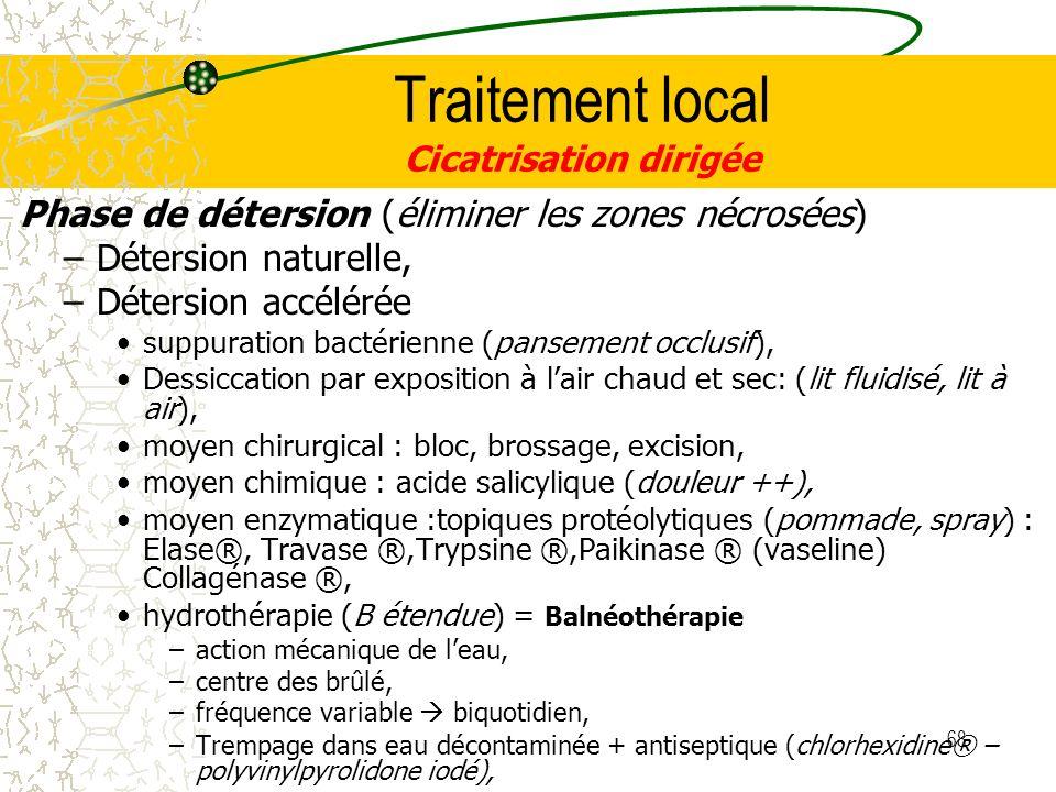 68 Traitement local Cicatrisation dirigée Phase de détersion (éliminer les zones nécrosées) –Détersion naturelle, –Détersion accélérée suppuration bac