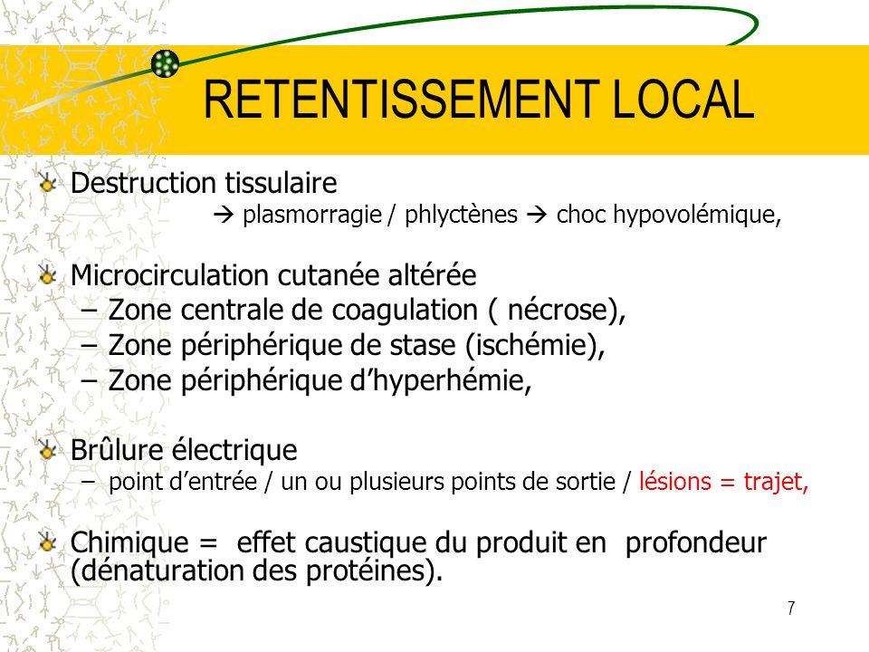 7 RETENTISSEMENT LOCAL Destruction tissulaire plasmorragie / phlyctènes choc hypovolémique, Microcirculation cutanée altérée –Zone centrale de coagula