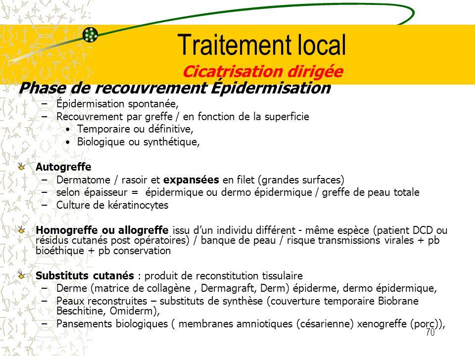70 Traitement local Cicatrisation dirigée Phase de recouvrement Épidermisation –Épidermisation spontanée, –Recouvrement par greffe / en fonction de la