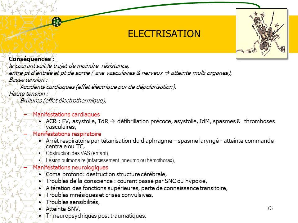 73 ELECTRISATION Conséquences : le courant suit le trajet de moindre résistance, entre pt dentrée et pt de sortie ( axe vasculaires & nerveux atteinte