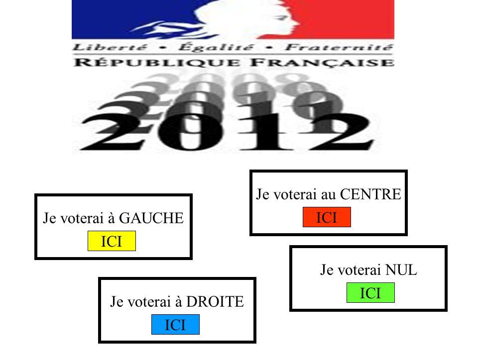 Je voterai à GAUCHE Je voterai au CENTRE Je voterai à DROITE Je voterai NUL ICI