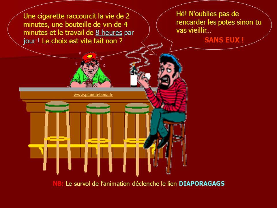 Hé! Noublies pas de rencarder les potes sinon tu vas vieillir… www.planetebena.fr Une cigarette raccourcit la vie de 2 minutes, une bouteille de vin d