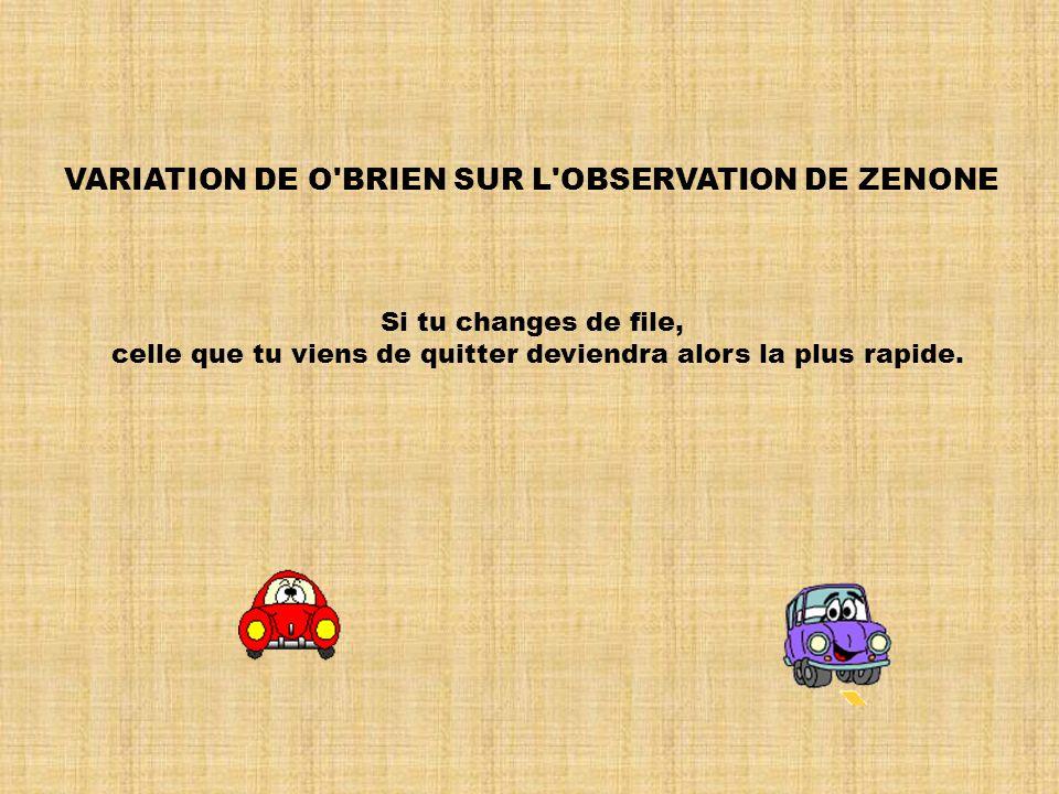 OBSERVATION DE ZENONE L'autre file va plus vite.