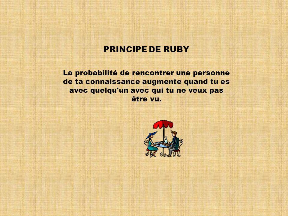PRINCIPE DE RUBY La probabilité de rencontrer une personne de ta connaissance augmente quand tu es avec quelqu un avec qui tu ne veux pas être vu.