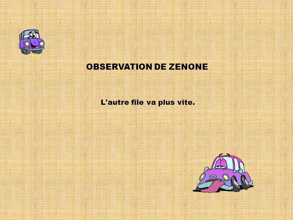 OBSERVATION DE ZENONE L autre file va plus vite.
