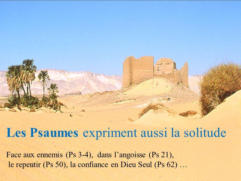 Les Psaumes expriment aussi la solitude Face aux ennemis (Ps 3-4), dans langoisse (Ps 21), le repentir (Ps 50), la confiance en Dieu Seul (Ps 62) …