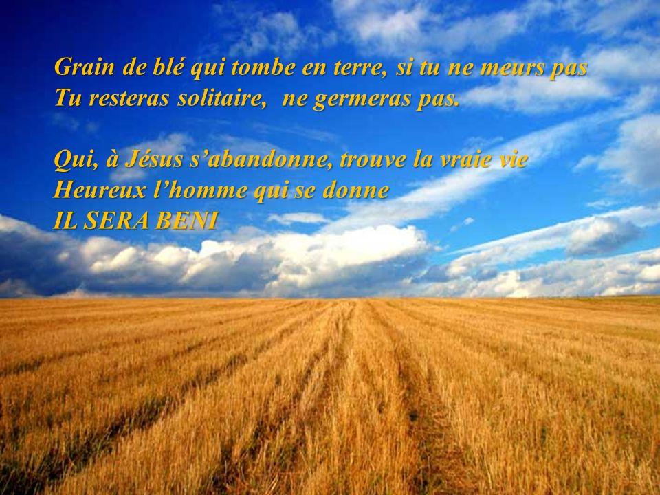 Grain de blé qui tombe en terre, si tu ne meurs pas Tu resteras solitaire, ne germeras pas. Qui, à Jésus sabandonne, trouve la vraie vie Heureux lhomm