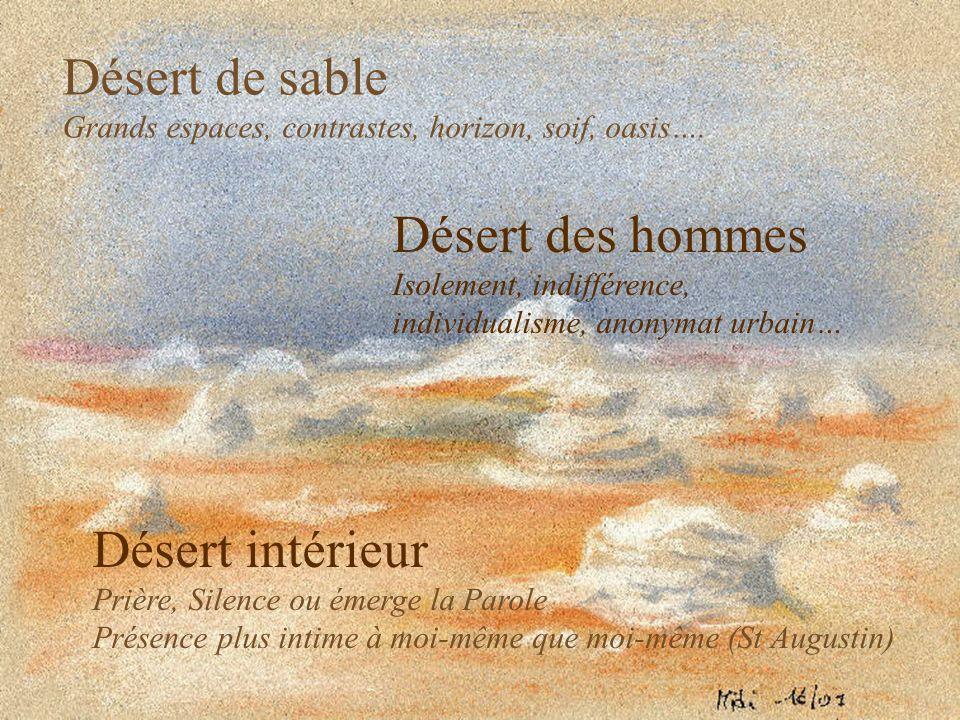 Désert de sable Grands espaces, contrastes, horizon, soif, oasis…. Désert des hommes Isolement, indifférence, individualisme, anonymat urbain… Désert