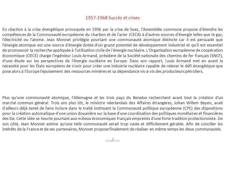 La création de l'Ecu 1950-1956 La formation de l'Europe communautaire A la période des précurseurs où tout semblait encore possible mais dont certains