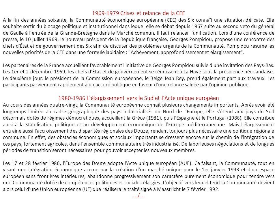 1957-1968 Succès et crises En réaction à la crise énergétique provoquée en 1956 par la crise de Suez, l'Assemblée commune propose d'étendre les compét