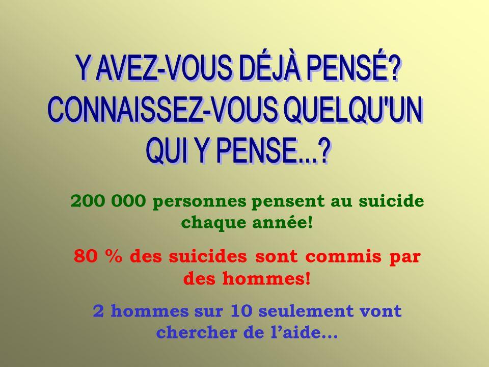 200 000 personnes pensent au suicide chaque année.