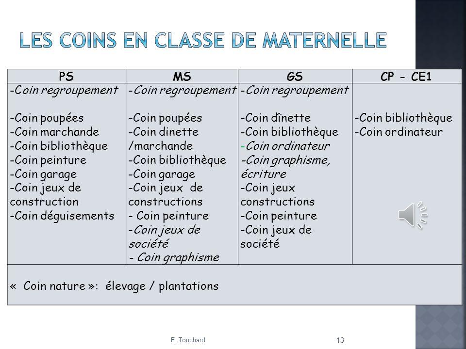 E. Touchard 13 PSMSGSCP - CE1 -Coin regroupement -Coin poupées -Coin marchande -Coin bibliothèque -Coin peinture -Coin garage -Coin jeux de constructi