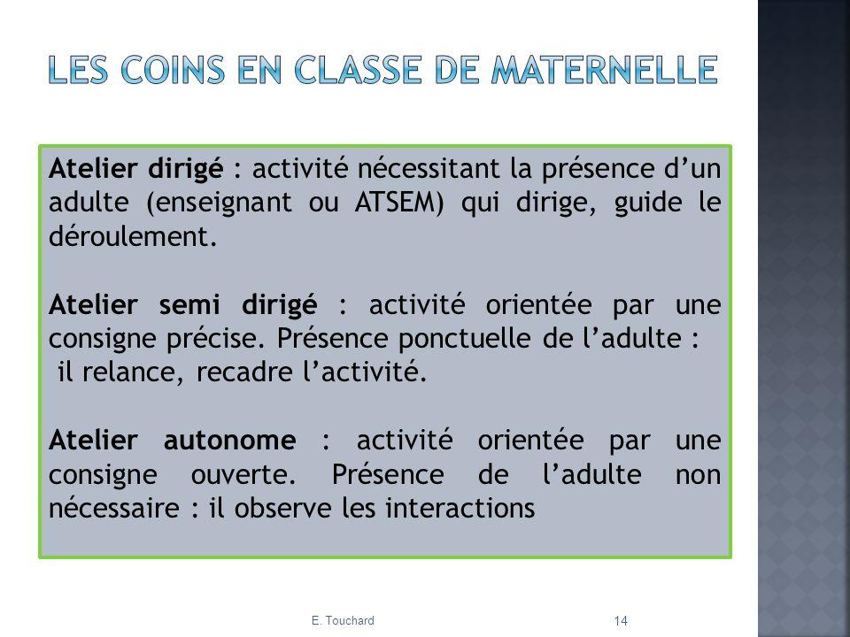 E. Touchard 14 Atelier dirigé : activité nécessitant la présence dun adulte (enseignant ou ATSEM) qui dirige, guide le déroulement. Atelier semi dirig