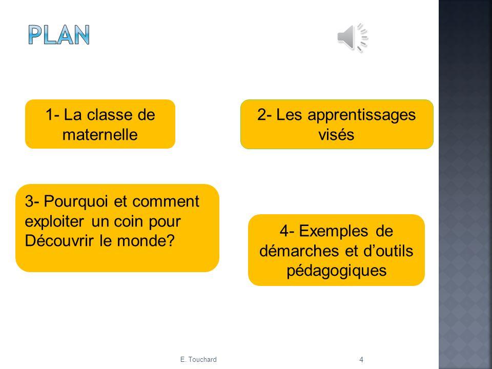 1- La classe de maternelle 2- Les apprentissages visés 4- Exemples de démarches et doutils pédagogiques 3- Pourquoi et comment exploiter un coin pour