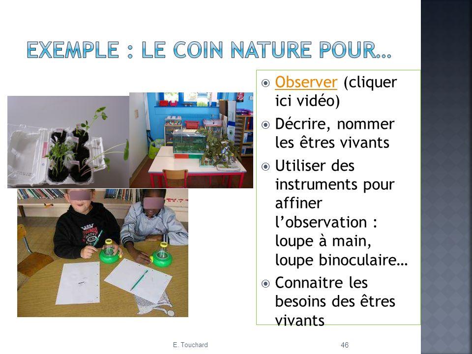 Observer (cliquer ici vidéo) Observer Décrire, nommer les êtres vivants Utiliser des instruments pour affiner lobservation : loupe à main, loupe binoc