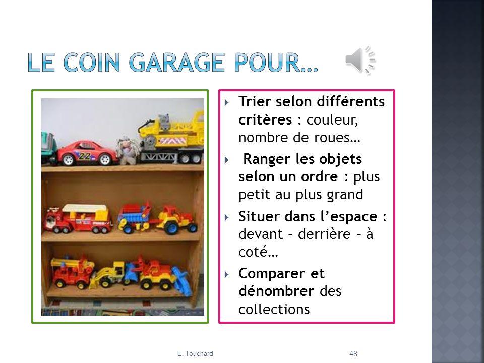 Trier selon différents critères : couleur, nombre de roues… Ranger les objets selon un ordre : plus petit au plus grand Situer dans lespace : devant –