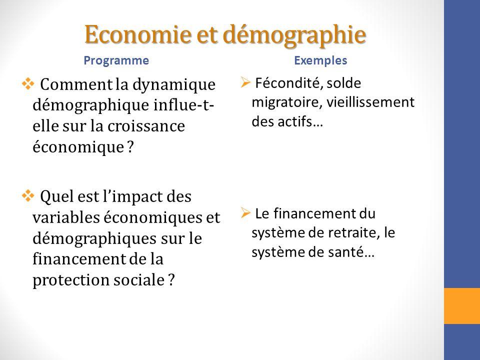 Economie et démographie Programme Comment la dynamique démographique influe-t- elle sur la croissance économique ? Quel est limpact des variables écon