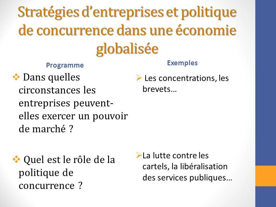 Stratégies dentreprises et politique de concurrence dans une économie globalisée Programme Dans quelles circonstances les entreprises peuvent- elles e