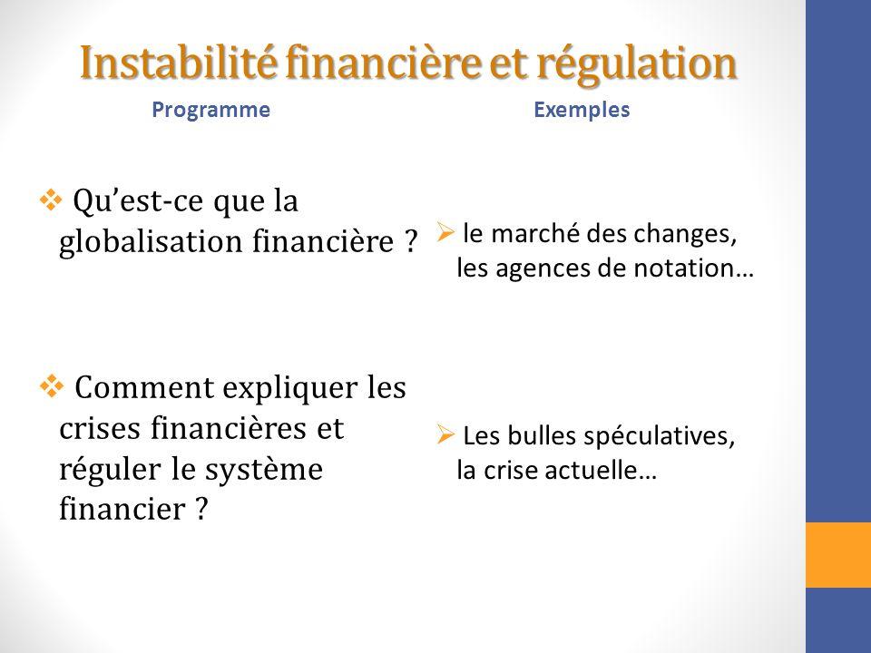 Instabilité financière et régulation Programme Quest-ce que la globalisation financière ? Comment expliquer les crises financières et réguler le systè