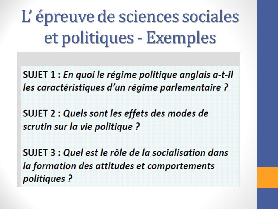 L épreuve de sciences sociales et politiques - Exemples