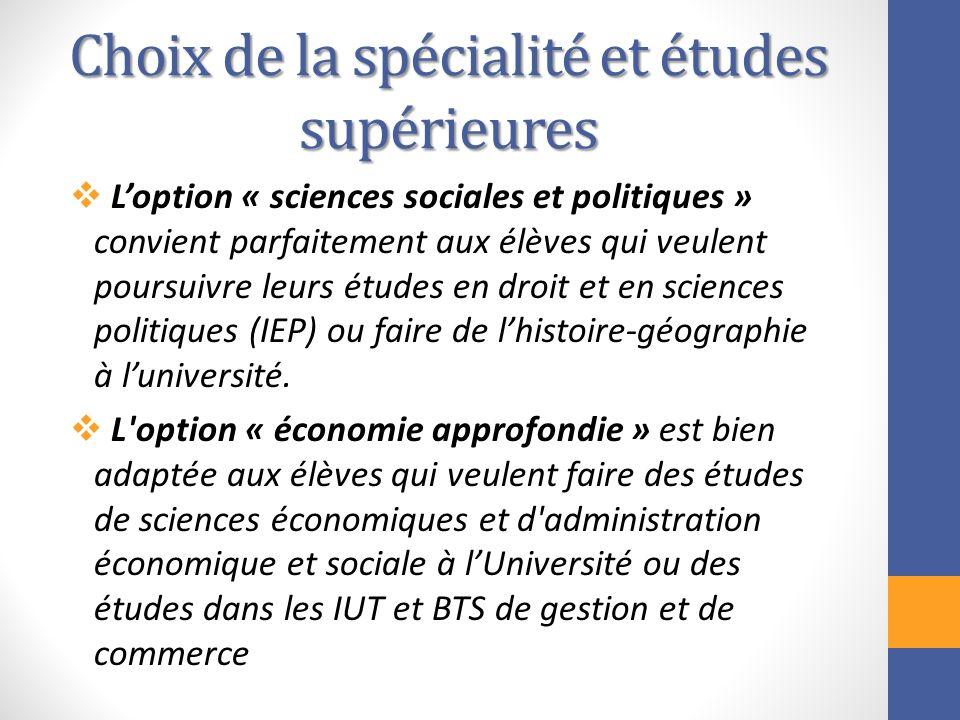 Choix de la spécialité et études supérieures Loption « sciences sociales et politiques » convient parfaitement aux élèves qui veulent poursuivre leurs
