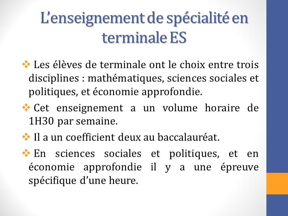 Lenseignement de spécialité en terminale ES Les élèves de terminale ont le choix entre trois disciplines : mathématiques, sciences sociales et politiq