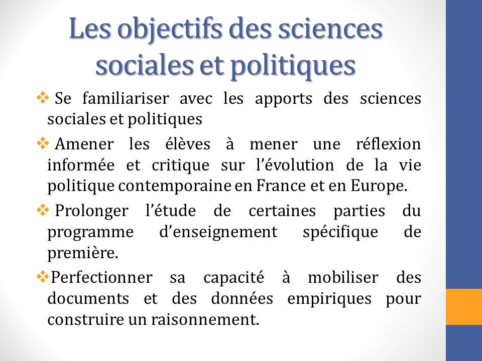 Les objectifs des sciences sociales et politiques Se familiariser avec les apports des sciences sociales et politiques Amener les élèves à mener une r