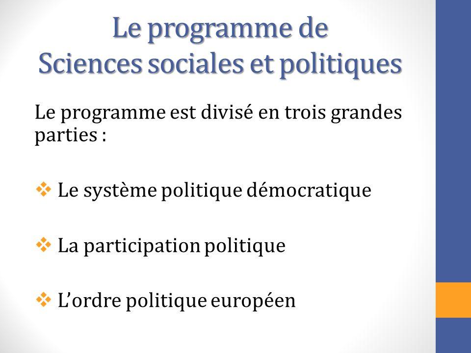 Le programme de Sciences sociales et politiques Le programme est divisé en trois grandes parties : Le système politique démocratique La participation