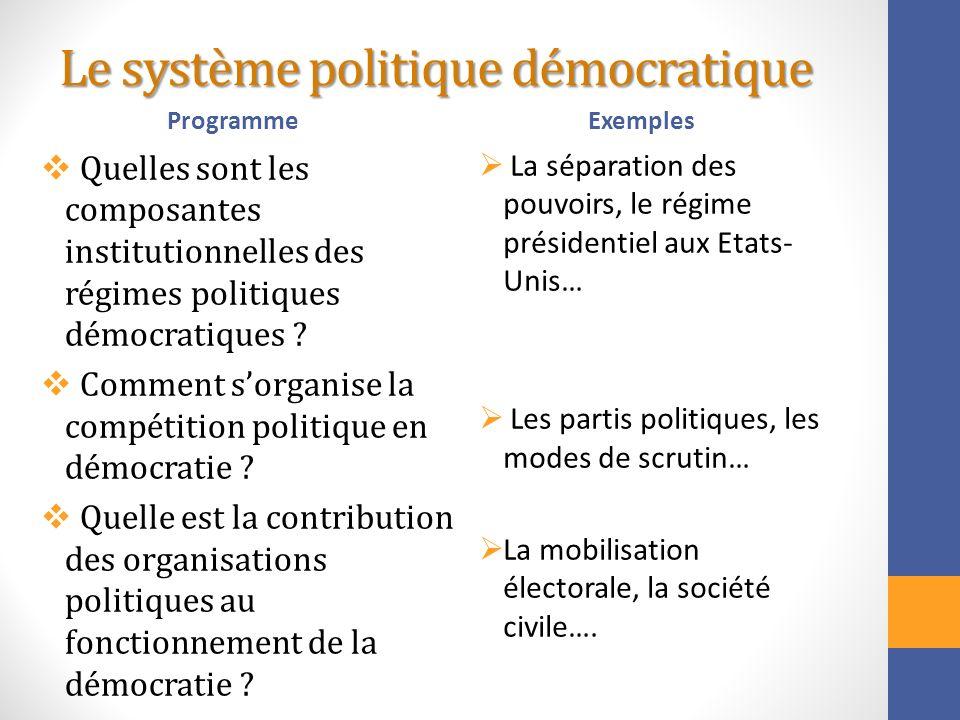 Le système politique démocratique Programme Quelles sont les composantes institutionnelles des régimes politiques démocratiques ? Comment sorganise la