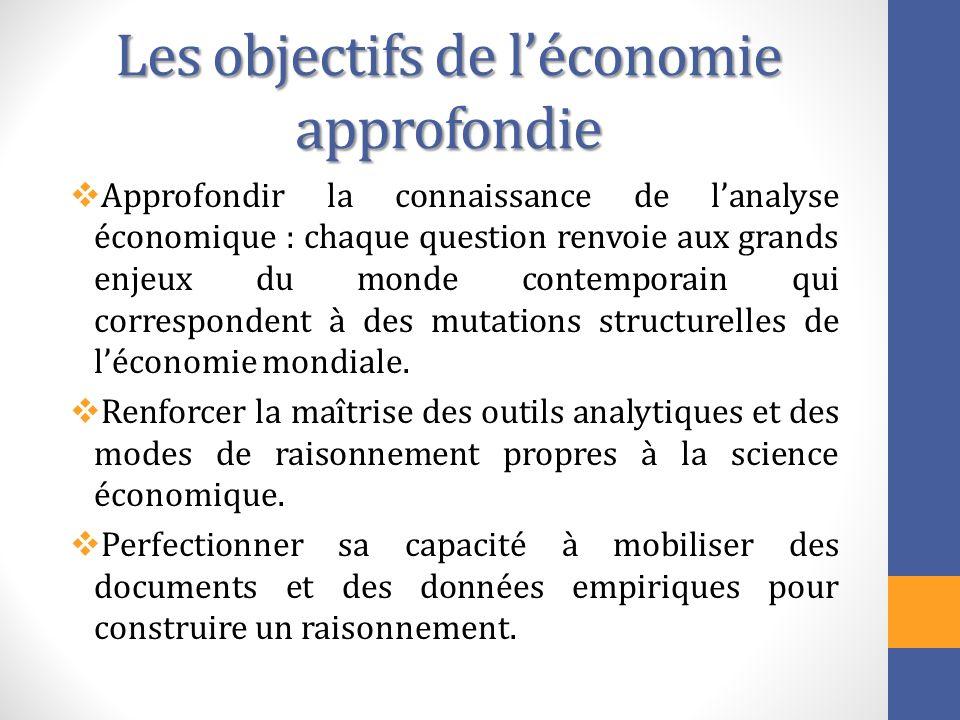 Les objectifs de léconomie approfondie Approfondir la connaissance de lanalyse économique : chaque question renvoie aux grands enjeux du monde contemp