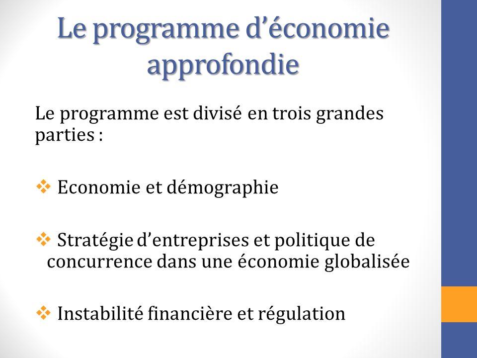 Le programme déconomie approfondie Le programme est divisé en trois grandes parties : Economie et démographie Stratégie dentreprises et politique de c