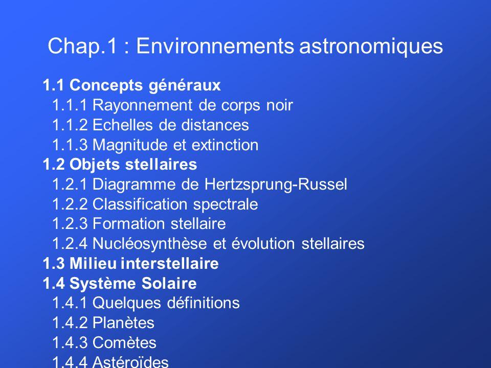 Chap.1 : Environnements astronomiques 1.1 Concepts généraux 1.1.1 Rayonnement de corps noir 1.1.2 Echelles de distances 1.1.3 Magnitude et extinction 1.2 Objets stellaires 1.2.1 Diagramme de Hertzsprung-Russel 1.2.2 Classification spectrale 1.2.3 Formation stellaire 1.2.4 Nucléosynthèse et évolution stellaires 1.3 Milieu interstellaire 1.4 Système Solaire 1.4.1 Quelques définitions 1.4.2 Planètes 1.4.3 Comètes 1.4.4 Astéroïdes