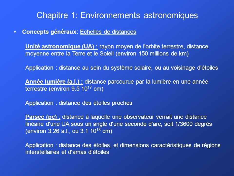 Chapitre 1: Environnements astronomiques Concepts généraux: Echelles de distances Unité astronomique (UA) : rayon moyen de l orbite terrestre, distance moyenne entre la Terre et le Soleil (environ 150 millions de km) Application : distance au sein du système solaire, ou au voisinage d étoiles Année lumière (a.l.) : distance parcourue par la lumière en une année terrestre (environ 9.5 10 17 cm) Application : distance des étoiles proches Parsec (pc) : distance à laquelle une observateur verrait une distance linéaire d une UA sous un angle d une seconde d arc, soit 1/3600 degrés (environ 3.26 a.l., ou 3.1 10 18 cm) Application : distance des étoiles, et dimensions caractéristiques de régions interstellaires et d amas d étoiles