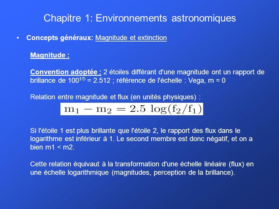 Chapitre 1: Environnements astronomiques Concepts généraux: Magnitude et extinction Magnitude : Convention adoptée : 2 étoiles différant d une magnitude ont un rapport de brillance de 100 1/5 = 2.512 ; référence de l échelle : Vega, m = 0 Relation entre magnitude et flux (en unités physiques) : Si l étoile 1 est plus brillante que l étoile 2, le rapport des flux dans le logarithme est inférieur à 1.